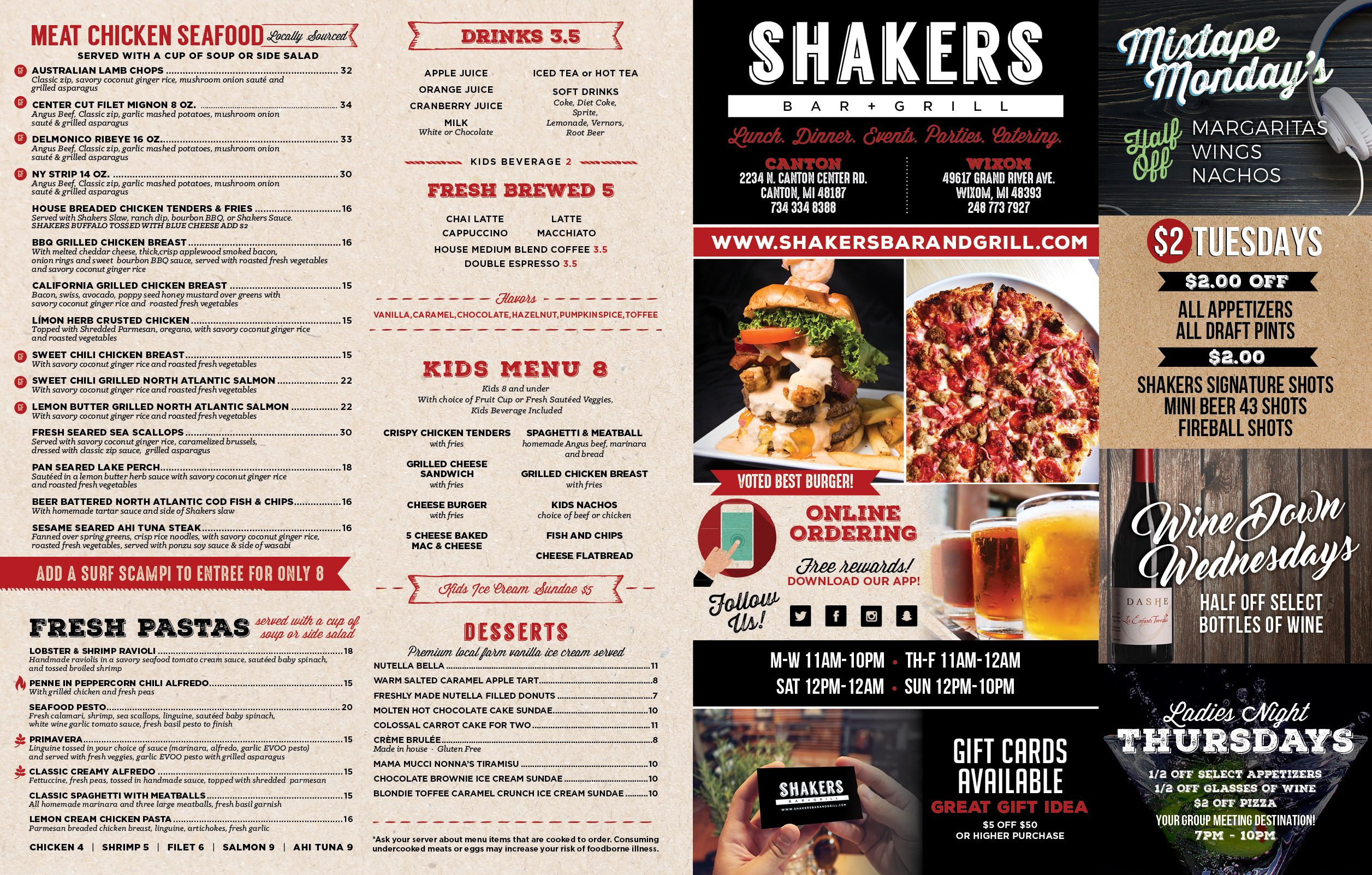 Carry Out Menu – Shakers Bar and Grill